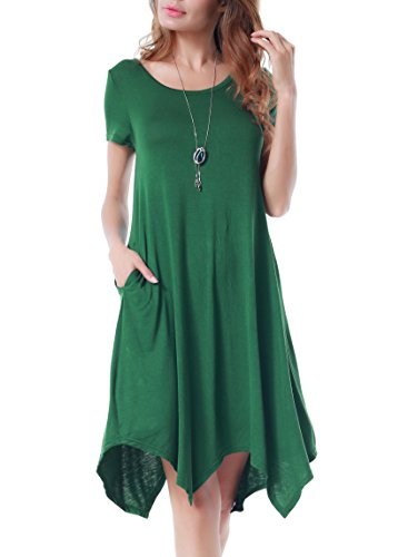Invug Women Casual Loose Soft Crewneck Short Sleeve Pockets Swing T-Shirt Dress Dark Green L