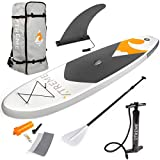 XtremepowerUS Inflatable Paddle Board Set,Adjustable Paddle, Backpack and Pump (Grey)