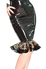 Bordelle-L'Amour Kick Pleat Skirt, Black with Pearl Sheen Gold Trim
