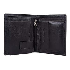 LOUIS STITCH Top Grain Genuine Leather Men's Wallet (Charcoal Black)