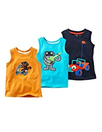 Coralup Little Boys Monkey Robot Karting Tank Tops 3 Piece Set,18M-6T