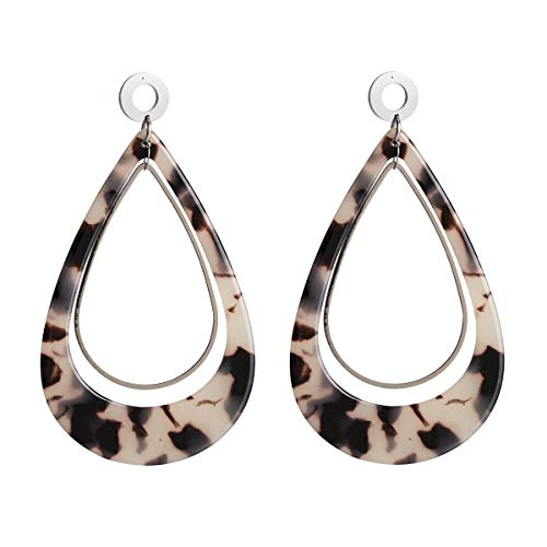 (Teardrop Acrylic Earrings for Women Metal Pendant Statement Tortoise Shell Earrings Resin Dangle Stud for Girls)