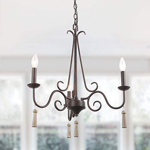 LALUZ 3-Light Transitional Chandelier for Living Room, Kitchen Island Lighting for Dining Room with Wood Pendant