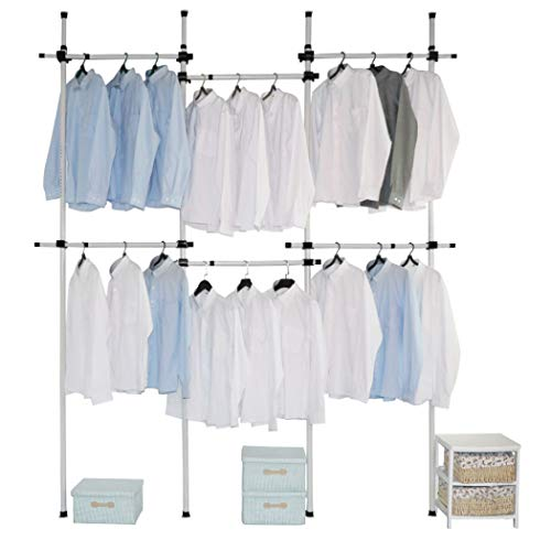 Asunflower Clothes Garment Rack Adjustable Clohthing Rack Hanger Portable 6-Tier Closet Organizer Tension Bar Holder -