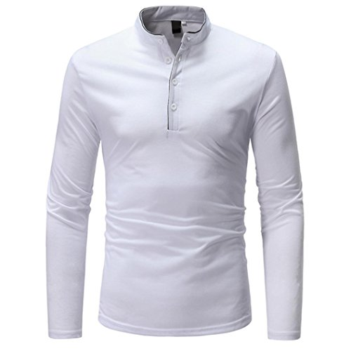 New! Sale PASATO Mens Long Sleeve Oxford Formal Casual Suits Slim Fit Tee Dress Shirts Blouse Top(White, XXXL) (Johnny Dress Formal)