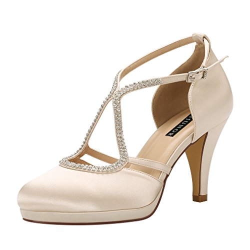 ERIJUNOR E0260D Women Comfort Low Heel Closed-Toe Ankle Strap Platform Satin Bridal Wedding Shoes Champagne Size 9