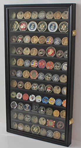 Large Challenge Coin/Casino Chip Display Case Holder Rack Cabinet, Glass Door (Black Finish)