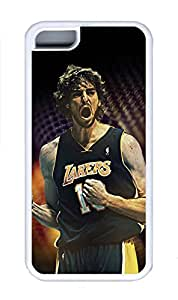 5C Case, iPhone 5C Case Cover, Custom Design Soft Rubber TPU White Cases Pau Gasol Lakers Shoockproof Protective Case Cover for New Apple iPhone 5C