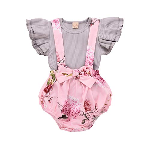 Mnyycxen Toddler Baby Girl Infant Ruffle Sleeve T Shirts Floral Print Overall Romper Jumpsuit Outfit Clothes Gray