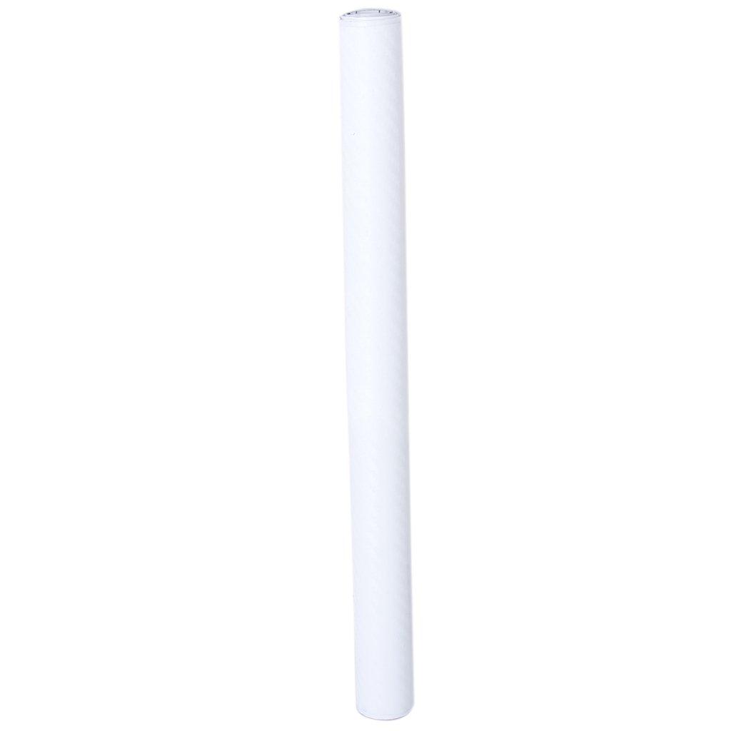 127 * 50cm DIY Adhésif Autocollant de Fibre de Carbone Vinyle Film de Protection pour Voiture (Blanc)