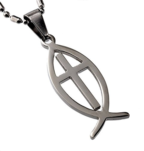 R.H. Jewelry Stainless Steel Pendant, Christian Fish and Cross