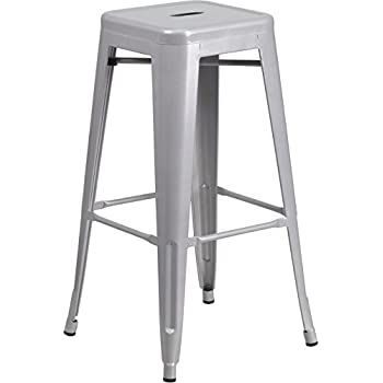 Amazon Com Amerihome Metal Bar Stool Set 30 Inch Silver