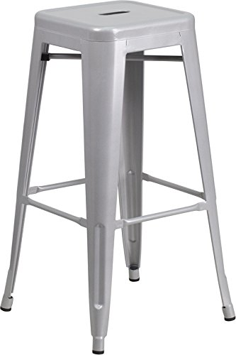 Flash Furniture 30u0027u0027 High Backless Silver Metal Indoor-Outdoor Barstool with Square Seat  sc 1 st  Amazon.com & Amazon.com: Flash Furniture 30u0027u0027 High Backless Silver Metal Indoor ... islam-shia.org