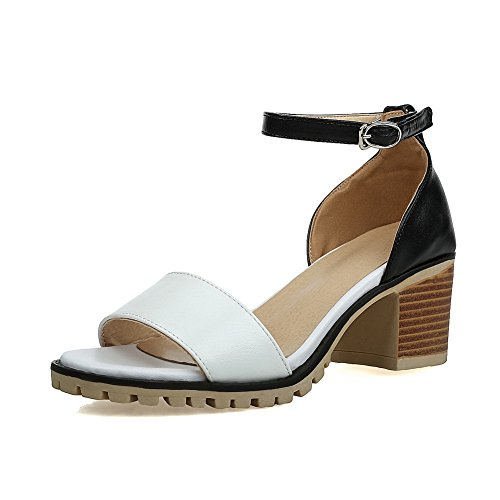 BalaMasa Womens White Sandals Huarache Smooth Lining Peep Leather Urethane Toe Sandals Cold ASL04455 qFxwHqA