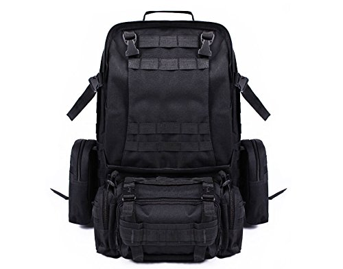 55L Outdoor Military Tactical Bag Camping Hiking Trekking Backpack Black