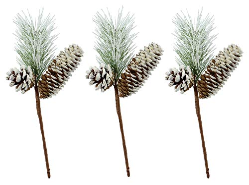 AuldHome Frosted Pine Picks with Cones (3-Pack, 12-Inch); Christmas Decor Greenery Accents, Snow-Frosted