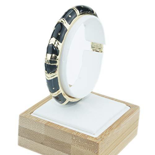 Enamel Vintage Bangles - UJOY Vintage Cloisonne Bracelet Handcraft Multi-Colored Enamel Open Hinged Cuff Bangle Jewelry Gifts 55A89 Black