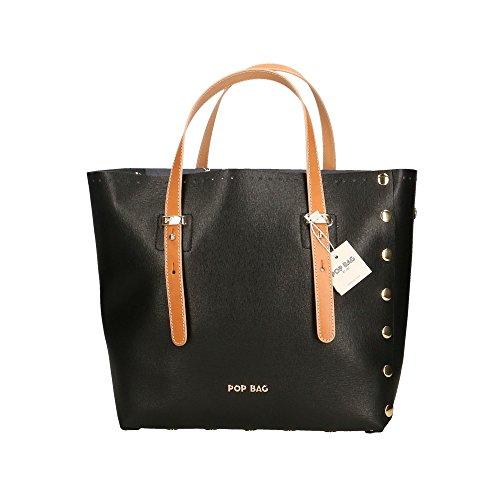 POP Bags - Borsa a Mano in Vera Pelle Made in Italy Stampa Saffiano - 28x27x13 Cm Nero - Nero - Vacch