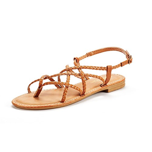 (DREAM PAIRS Women's Tan Pu Thong Design Strappy Flat Sandals Size 6.5 M US Crox_02)