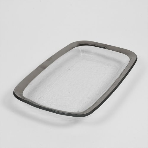 Image of Serving Bowls Annieglass Rectangular Asparagus Bowl - Roman Antique (Platinum)