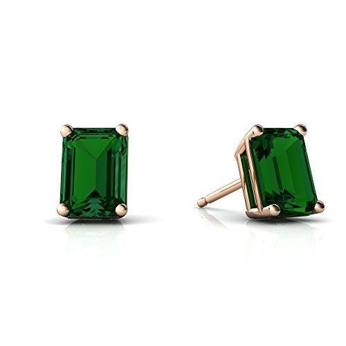 14kt Gold Lab Emerald 7x5mm Emerald_Cut Emerald-Cut Stud Earrings