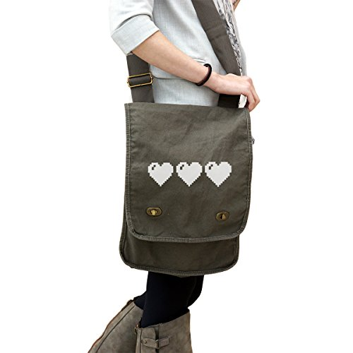 - Zelda Link Full Heart Life Bar 14 oz. Authentic Pigment-Dyed Canvas Field Bag Tote Green