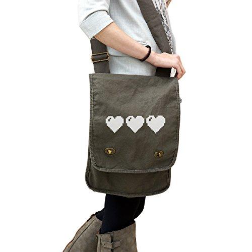 Zelda Link Full Heart Life Bar 14 oz. Authentic Pigment-Dyed Canvas Field Bag Tote (Canvas Zelda Messenger Bag)