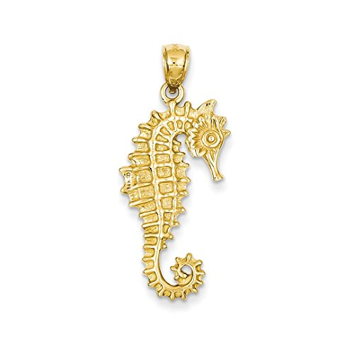 ICE CARATS 14kt Yellow Gold 3 D Seahorse Pendant Charm Necklace Sea Life Fine Jewelry Ideal Gifts For Women Gift Set From (Gold 3d Horse Charm)