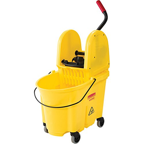 Rubbermaid Commercial WaveBrake 35 QT Down-Press Bucket and Wringer, Yellow, (FG757788YEL)