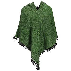 GURU SHOP Poncho Hippie Chic con capucha en punta, Pixi Poncho, mujer, verde, sintético, talla: 40, chaquetas, abrigos y… | DeHippies.com