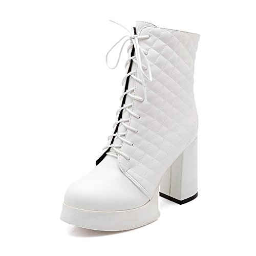 AdeeSu Womens Chunky Heels Bandage Platform Imitated Leather Boots White