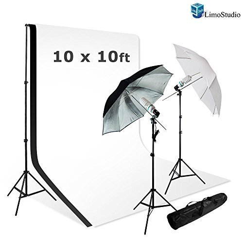 LimoStudio Photo Studio Lighting Kit Set & 10X10 White Black Muslin Backdrop Background Carrying Case by LimoStudio