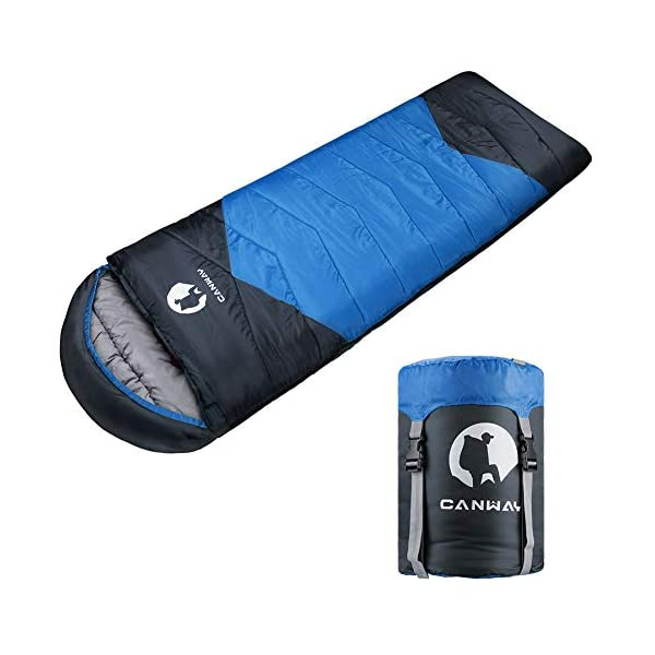 CANWAY Sleeping Bag with Compression Sack, Lightweight and Waterproof for Warm & Cold Weather, Comfort for 4 Seasons Camping/Traveling/Hiking/Backpacking, Adults & Kids 3