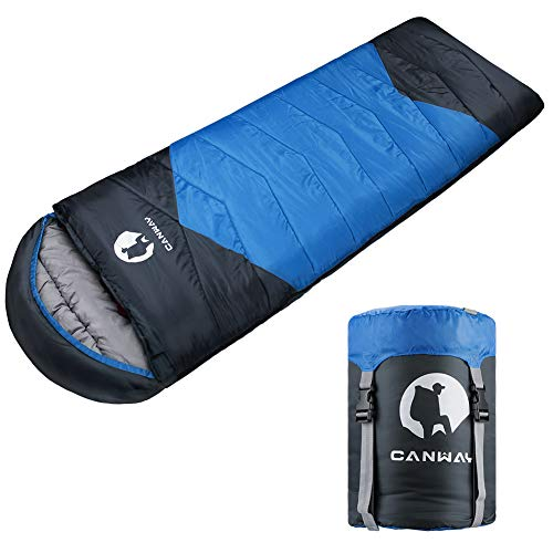 CANWAY Sleeping Bag with Compression Sack, Lightweight and Waterproof for Warm & Cold Weather, Comfort for 4 Seasons Camping/Traveling/Hiking/Backpacking, Adults & Kids ()
