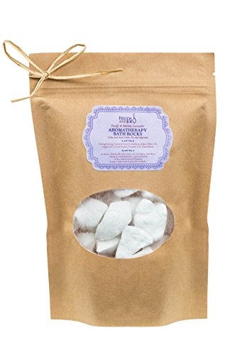 Freida and Joe Relaxing Aromatherapy Bath Rocks with Argan Oil, Olive Oil, Cocoa Butter, Shea Butter and Vitamin E, in Lavender Scent Perfect for Women, 250 Grams of Bath Bombs in a Spa Gift Bag ()