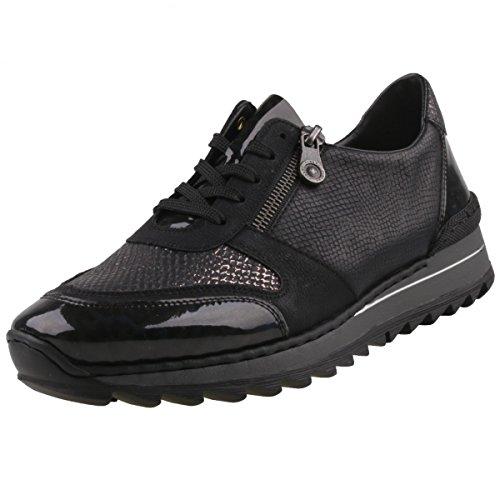 Rieker Damen Sneaker Schwarz Schwarz (schwarz kombi 91)