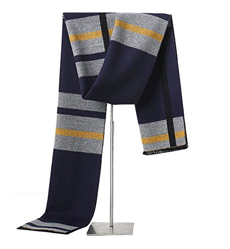 MuNiSa Men's Winter Scarf Plaid Stripes Long Cashmere Scarves with Tassel from MuNiSa