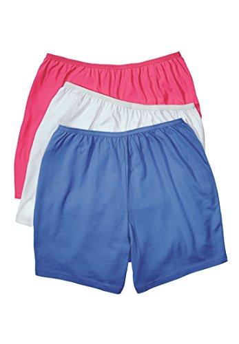 Comfort Choice Women's Plus Size 3-Pack Cotton Boyshort Raspberry (Plus Boy Short)