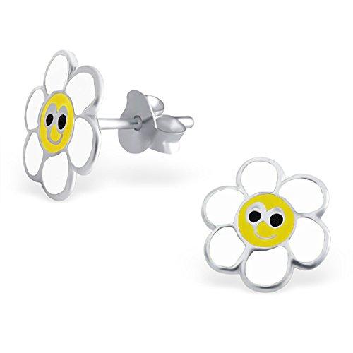 So Chic Bijoux © Enfant Boucles d'oreilles Fleur Email Couleur Argent 925