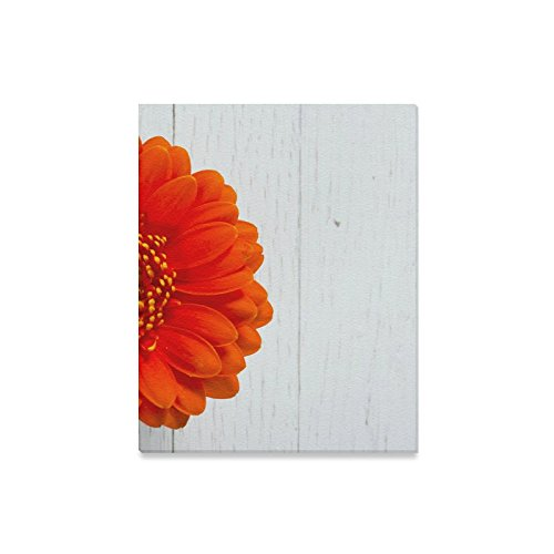 InterestPrint Gerbera Daisy Flower on White Wood Table Canvas Prints Wall Art Wood Framed Abstract Canvas Paintings for Wall and Home Decor, 16