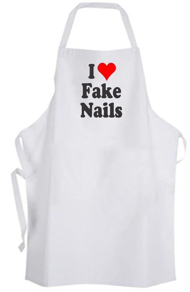 I Love Fake Nails – Adult Size Apron – Fashion Fingernails Salon Spa by Aprons365 (Image #1)