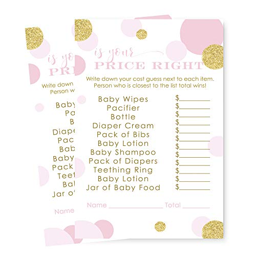 Pink and Gold Baby Shower Price is Right Game Pack of 25 Cards by Paper Clever Party