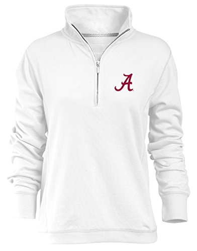 NCAA Alabama Crimson Tide Relaxed Quarter Zip Pullover, White, Large