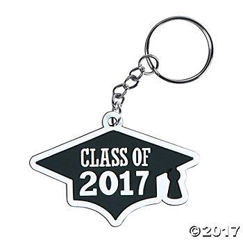 Class of 2017 Graduation Cap Key Chains - 12 pc
