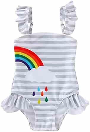6c818ef7cb Kehen- Twins Bathing Suit Kid Toddler Girl Ruffle Strap One Piece Swimsuit  Striped Rainbow Print