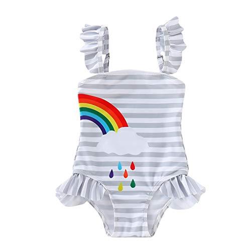 TEVEQ Kids Girls Swimwear Bikini Beach Strip Rainbow Print One Piece Swimsuit