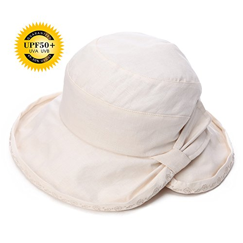 Siggi Ladies UPF50+ Summer Sunhat Cotton Linen Bucket Packable Breathable Wide Brim Hats w/ Chin Cord Beige (Crushable Bucket Hat)