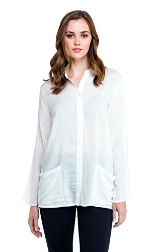 utton-up Shirt With Front Pockets (S) (Pintucked Button Front Shirt)