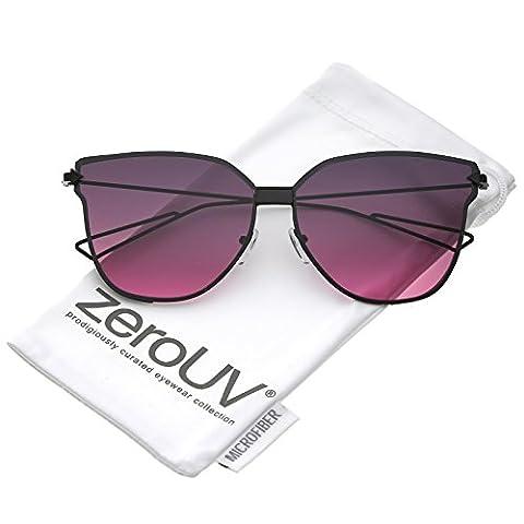 zeroUV - Oversize Slim Wire Arms Gradient Colored Flat Lens Cat Eye Sunglasses 59mm (Black / Smoke Magenta - Wire Frame Gradient Sunglasses