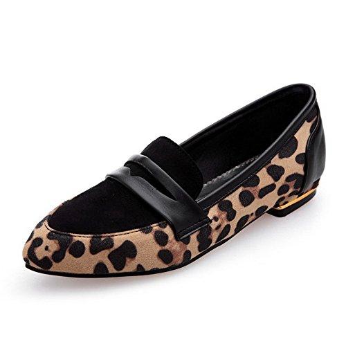 VogueZone009 Damen Gemischte Farbe Mattglasbirne Niedriger Absatz Spitz Zehe Ziehen auf Pumps Schuhe Gelb